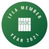 Varastokirjasto on IFLAn jäsen. Kuvassa IFLAn logo.